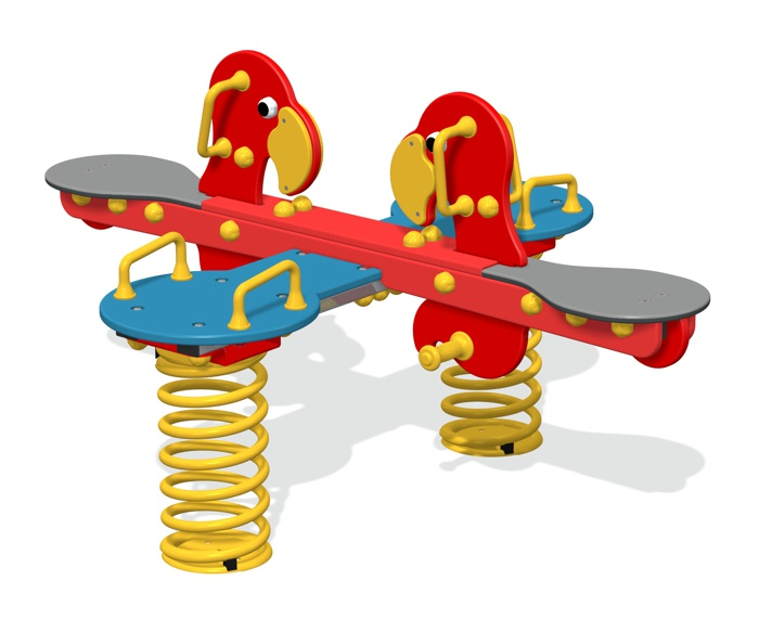 Parrot 4-Way Spring Seesaw