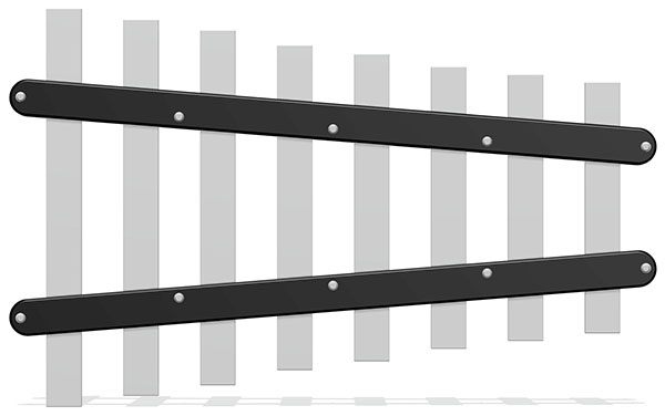 38mm Flat Chimes (8) with Mounting Strip